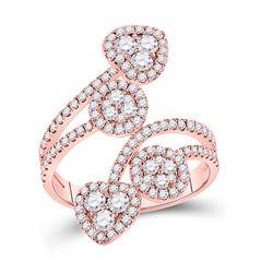 Womens Round Diamond Bypass Cluster Heart Ring 1-1/4 Cttw 14kt Rose Gold - REF-93W9K