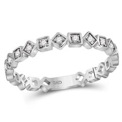 Womens Round Diamond Squares Stackable Band Ring 1/10 Cttw 14kt White Gold - REF-15H9R