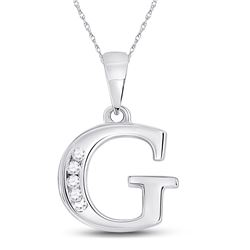 Womens Round Diamond G Initial Letter Pendant 1/20 Cttw 10kt White Gold - REF-6N5F