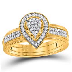 Diamond Teardrop Cluster Bridal Wedding Ring Band Set 1/5 Cttw 10kt Yellow Gold - REF-29F9W