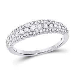 Womens Round Diamond Anniversary Ring 1/2 Cttw 10kt White Gold - REF-34K5Y