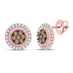 Womens Round Brown Diamond Cluster Earrings 3/8 Cttw 10kt Rose Gold - REF-27A9M