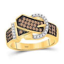 Womens Round Brown Diamond Belt Buckle Band Ring 1/2 Cttw 10kt Yellow Gold - REF-25W9K