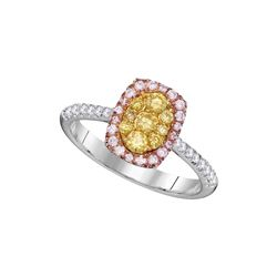 Womens Round Yellow Pink Diamond Cluster Ring 5/8 Cttw 14kt White Gold - REF-65F5W