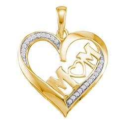 Womens Round Diamond Heart Mom Mother Pendant 1/12 Cttw 10kt Yellow Gold - REF-9R5X