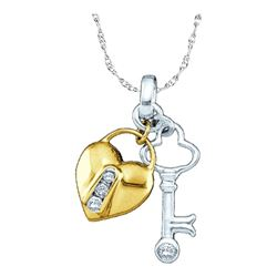 Womens Round Diamond Heart Lock Key Pendant 1/20 Cttw 10kt Yellow Two-tone Gold - REF-7N5F