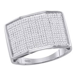 Mens Round Diamond Faceted Rectangle Cluster Ring 7/8 Cttw 10kt White Gold - REF-65X9A