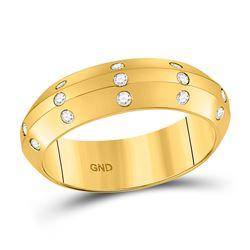 Womens Round Diamond Wedding Machine-Set Band 1/6 Cttw 14kt Yellow Gold - REF-38R9X