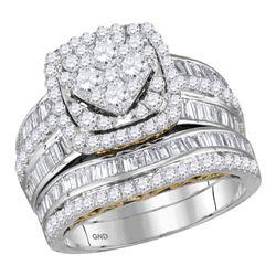 Round Diamond Bridal Wedding Ring Band Set 2 Cttw 14kt Two-tone Gold - REF-134M5H