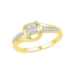 Round Diamond Square Cluster Bridal Wedding Engagement Ring 1/6 Cttw 10kt Yellow Gold - REF-16K5Y