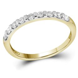 Womens Round Diamond Single Row Band Ring 1/4 Cttw 14kt Yellow Gold - REF-19A5M