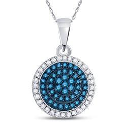 Womens Round Blue Color Enhanced Diamond Circle Pendant 1/3 Cttw 10kt White Gold - REF-15X9A