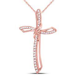 Womens Round Diamond Cross Pendant 1/4 Cttw 10kt Rose Gold - REF-14Y9N