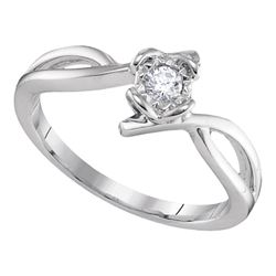 Womens Round Diamond Solitaire Promise Ring 1/8 Cttw 10kt White Gold - REF-15H5R