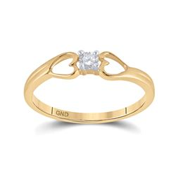 Womens Round Diamond Solitaire Heart Promise Ring 1/10 Cttw 10kt Yellow Gold - REF-13M5H