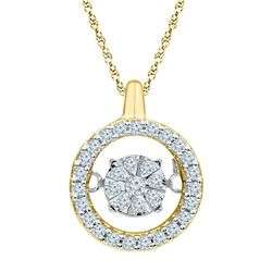 Womens Round Diamond Dangle Pendant 1/5 Cttw 10kt Yellow Gold - REF-17K5Y