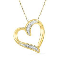 Womens Round Diamond Heart Outline Pendant .03 Cttw 10kt Yellow Gold - REF-5M9H