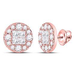 Womens Princess Diamond Cluster Earrings 1/2 Cttw 14kt Rose Gold - REF-36Y9N