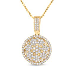 Mens Round Diamond Cluster Circle Charm Pendant 3 Cttw 10kt Yellow Gold - REF-164N5F
