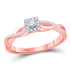 Round Diamond Solitaire Twist Bridal Wedding Engagement Ring 1/5 Cttw 10kt Rose Gold - REF-15K5Y