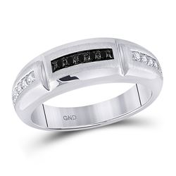 Mens Round Black Color Enhanced Diamond Notched Band Ring 1/4 Cttw 10kt White Gold - REF-29A9M