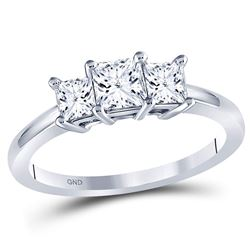 Princess Diamond 3-stone Bridal Wedding Engagement Ring 1 Cttw 14kt White Gold - REF-97H5R