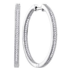 Womens Round Diamond Inside Outside Hoop Earrings 1/2 Cttw 10kt White Gold - REF-36W9K