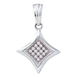 Womens Round Diamond Diagonal Kite Square Cluster Pendant 1/20 Cttw 10kt White Gold - REF-6H5R