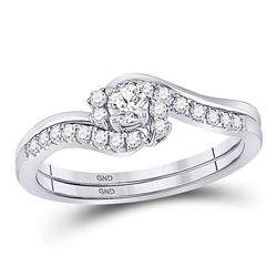 Round Diamond Bridal Wedding Ring Band Set 1/3 Cttw 10kt White Gold - REF-30F9W