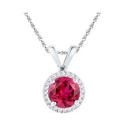 Womens Round Lab-Created Ruby Solitaire Pendant 1 Cttw 10kt White Gold - REF-8N9F