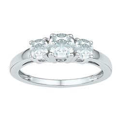 Womens Round Lab-Created White Sapphire 3-stone Ring 1-3/8 Cttw 10kt White Gold - REF-10A5M