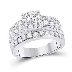 Round Diamond Halo Bridal Wedding Engagement Ring 2 Cttw 14kt White Gold - REF-170F9W