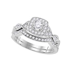 Round Diamond Bridal Wedding Ring Band Set 3/4 Cttw 14kt White Gold - REF-79H5R