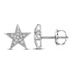 Womens Round Diamond Star Earrings 1/20 Cttw 10kt White Gold - REF-7M9H