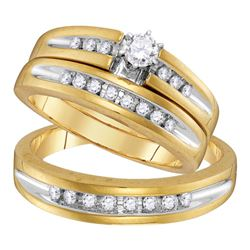 His Hers Round Diamond Solitaire Matching Wedding Set 1/2 Cttw 10kt Yellow Gold - REF-57Y5N