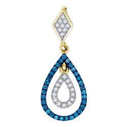 Womens Round Blue Color Enhanced Diamond Teardrop Pendant 1/5 Cttw 10kt Yellow Gold - REF-13Y9N
