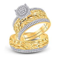 His Hers Round Diamond Cluster Matching Wedding Set 5/8 Cttw 10kt Yellow Gold - REF-58H9R