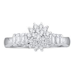 Womens Round Diamond Cluster Ring 1/4 Cttw 10kt White Gold - REF-14W9K