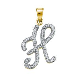 Womens Round Diamond Initial H Letter Pendant 1/5 Cttw 10kt Yellow Gold - REF-13F9W