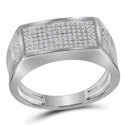 Mens Round Diamond Rectangle Cluster Band Ring 1/3 Cttw 10kt White Gold - REF-42F9W