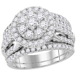 Round Diamond Bridal Wedding Ring Band Set 3 Cttw 14kt White Gold - REF-274Y5N