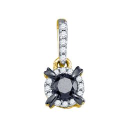Womens Round Black Color Enhanced Diamond Solitaire Pendant 1 Cttw 10kt Yellow Gold - REF-21X5A