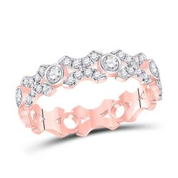 Womens Round Diamond XOXO Stackable Band Ring 1/2 Cttw 10kt Rose Gold - REF-32N5F