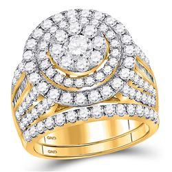 Round Diamond Bridal Wedding Ring Band Set 3 Cttw 14kt Yellow Gold - REF-206N9F