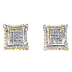 Mens Round Diamond Square Earrings 1/2 Cttw 10kt Yellow Gold - REF-28X5A