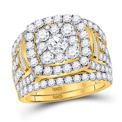 Round Diamond Bridal Wedding Ring Band Set 4 Cttw 14kt Yellow Gold - REF-327H9R