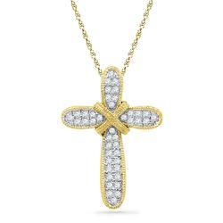 Womens Round Diamond Cross Pendant 1/6 Cttw 10kt Yellow Gold - REF-8F5W