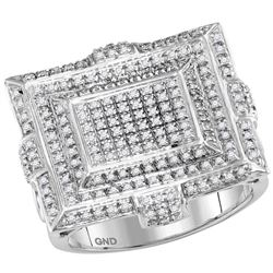 Mens Round Diamond Square Cluster Ring 5/8 Cttw 10kt White Gold - REF-67Y5N