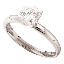 Womens Round Diamond Solitaire Bridal Wedding Engagement Ring 1/2 Cttw 14kt White Gold - REF-73X9A