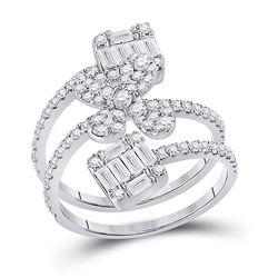 Womens Round Diamond Spiral Flower Fashion Ring 1 Cttw 14kt White Gold - REF-104F9W
